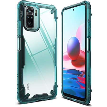 Ringke Fusion-X Compatible with Xiaomi Redmi Note 10 Case, Redmi Note 10S Case, Clear Back Heavy Duty Shockproof TPU Rugged Bumper Phone Cover - Turquoise Green