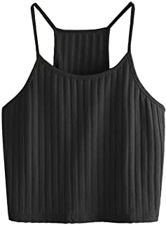 ef7658d14e9814 SheIn Women s Summer Basic Sexy Strappy Sleeveless Racerback Crop Top