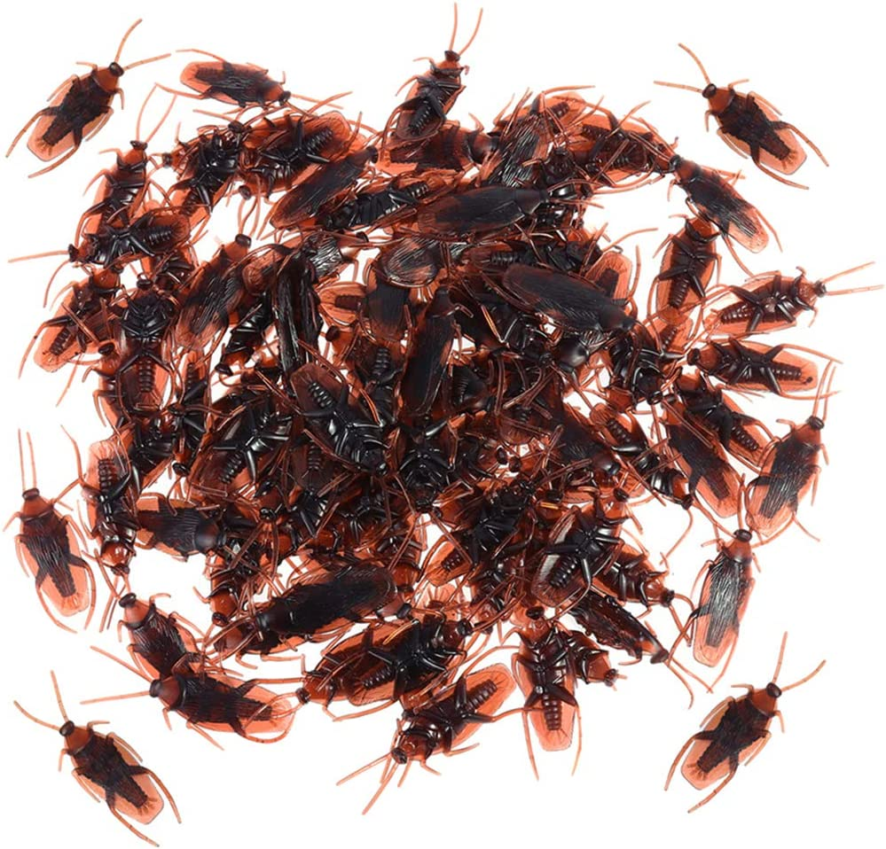 Szsrcywd 100 PCS Fake Roach,Prank Novelty Cockroach Bugs Look Real,Party Favorite Trick