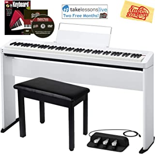 Casio Privia PX-S1000 Digital Piano - White Bundle with CS-68 Stand, SP-34 Three Pedal System, Furniture Bench, Instructional Book, Online Lessons, Austin Bazaar Instructional DVD, and Polishing Cloth