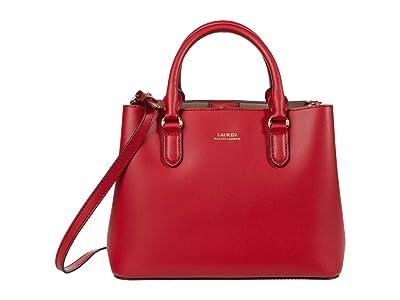 LAUREN Ralph Lauren Marcy II Satchel (RL 2000 Red/Truffle) Handbags