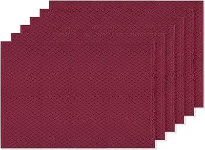 Amazon Com Dii Vinyl Indoor Outdoor Tabletop Placemat Set Bordered Tango Red 6 Piece Furniture Decor