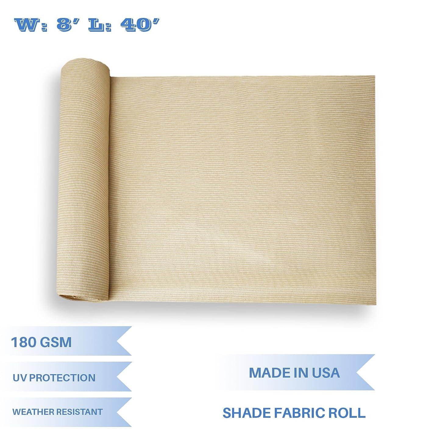 E&K Sunrise 8' x 40' Beige Sun Shade Fabric Sunblock Shade Cloth Roll, 95% UV Resistant Mesh Netting Cover for Outdoor,Backyard,Garden,Greenhouse,Barn,Plant (Customized