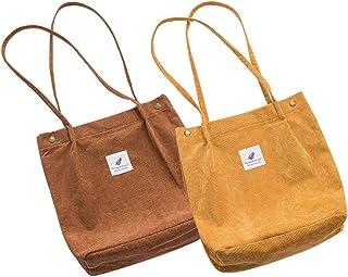Belsmi Crossbody Tote Womens Ladies Girls 14 Inches Heavy Beach Laundry School Bag Corduroy Cotton Shoulder Bag Shopping Retro Casual Handbags Canvas Totes Bag (Brown Yellow)