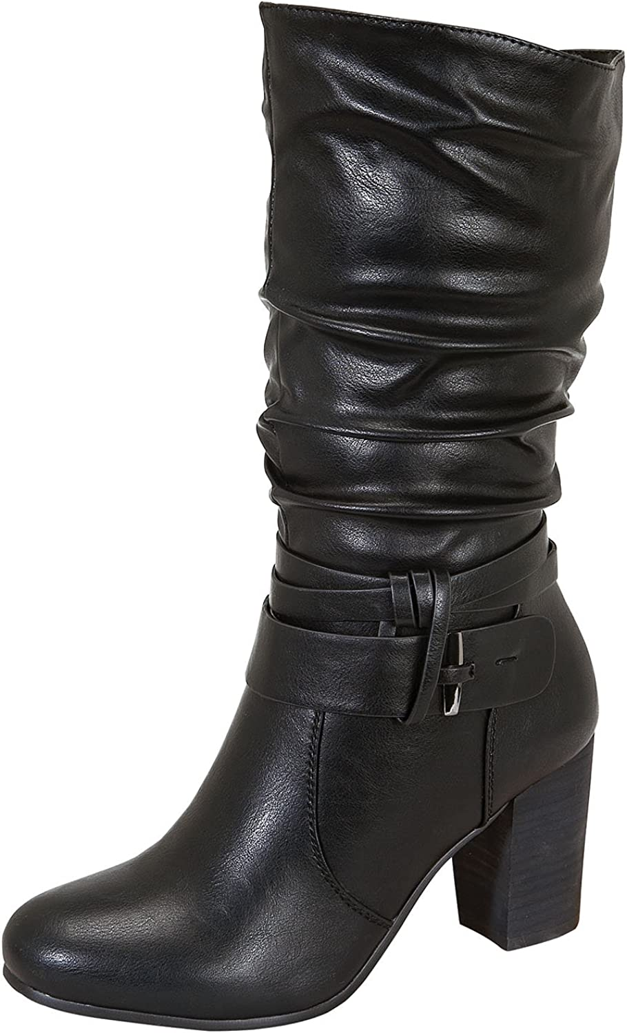 Ralph-2 Women's Middle Chunky Wooden Heel Slouchy Mid-Calf Boots Black 11