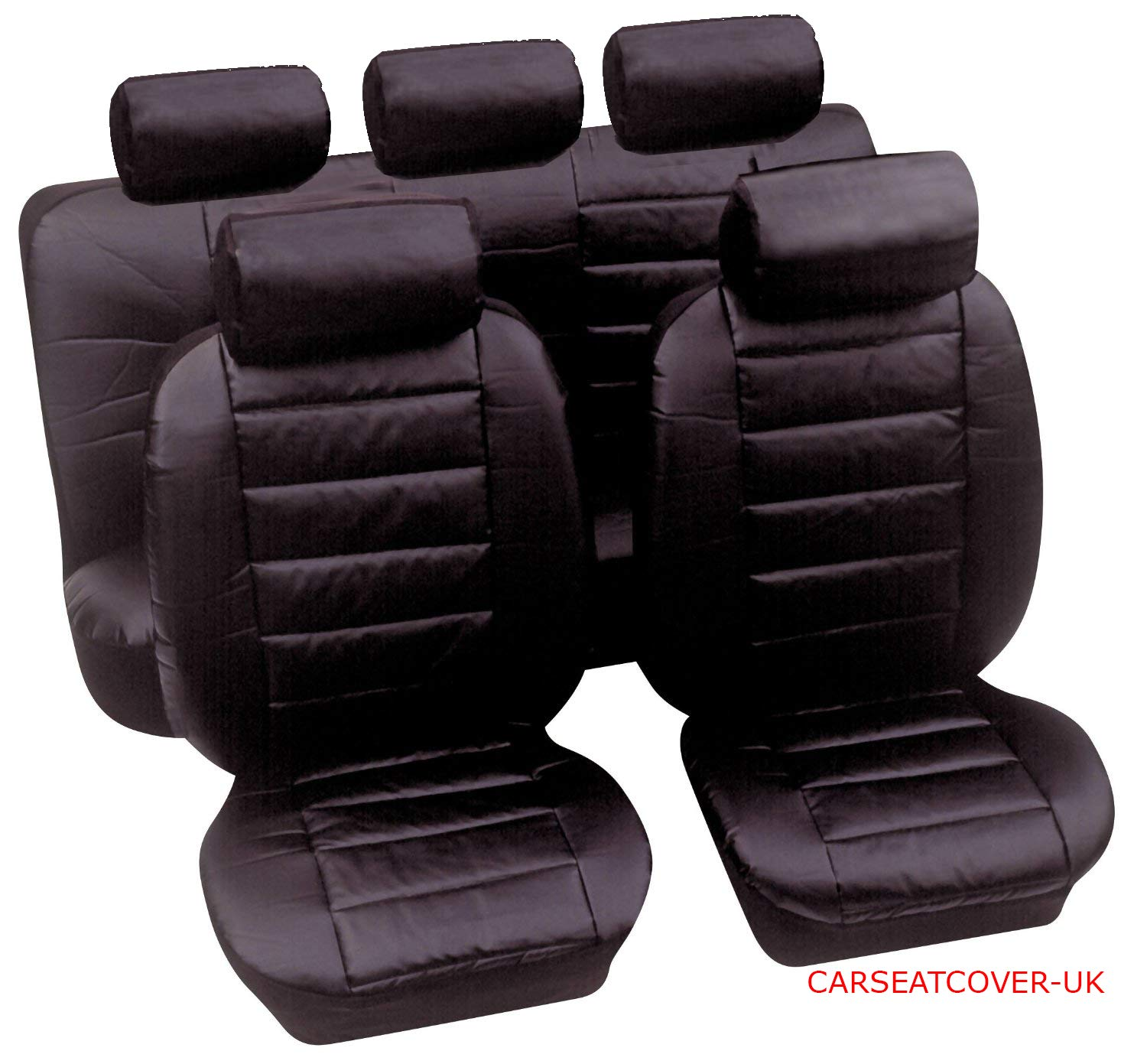 Carseatcover-UK Black Leatherette Car Seat Covers Full Set