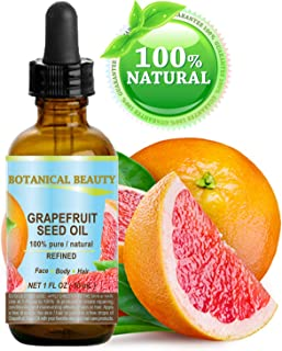 Botanical Beauty GRAPEFRUIT SEED OIL. 100% Pure Natural Undiluted Refined COLD PRESSED CARRIER OIL (NOT ESSENTIAL OIL). 1 Fl.oz.- 30 ml. For Skin, Hair and Lip Care.