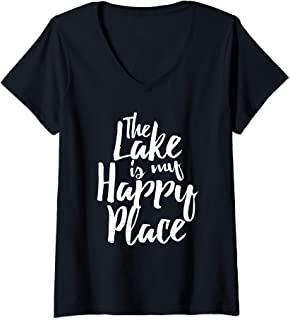 Womens The Lake Is My Happy Place Boating Sailing Saying V-Neck T-Shirt