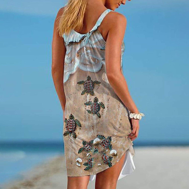 Gerichy Dresses for Women, Womens Summer Casual Short Dresses Sleeveless Graphic Print Loose Swing Dress Beach Dress