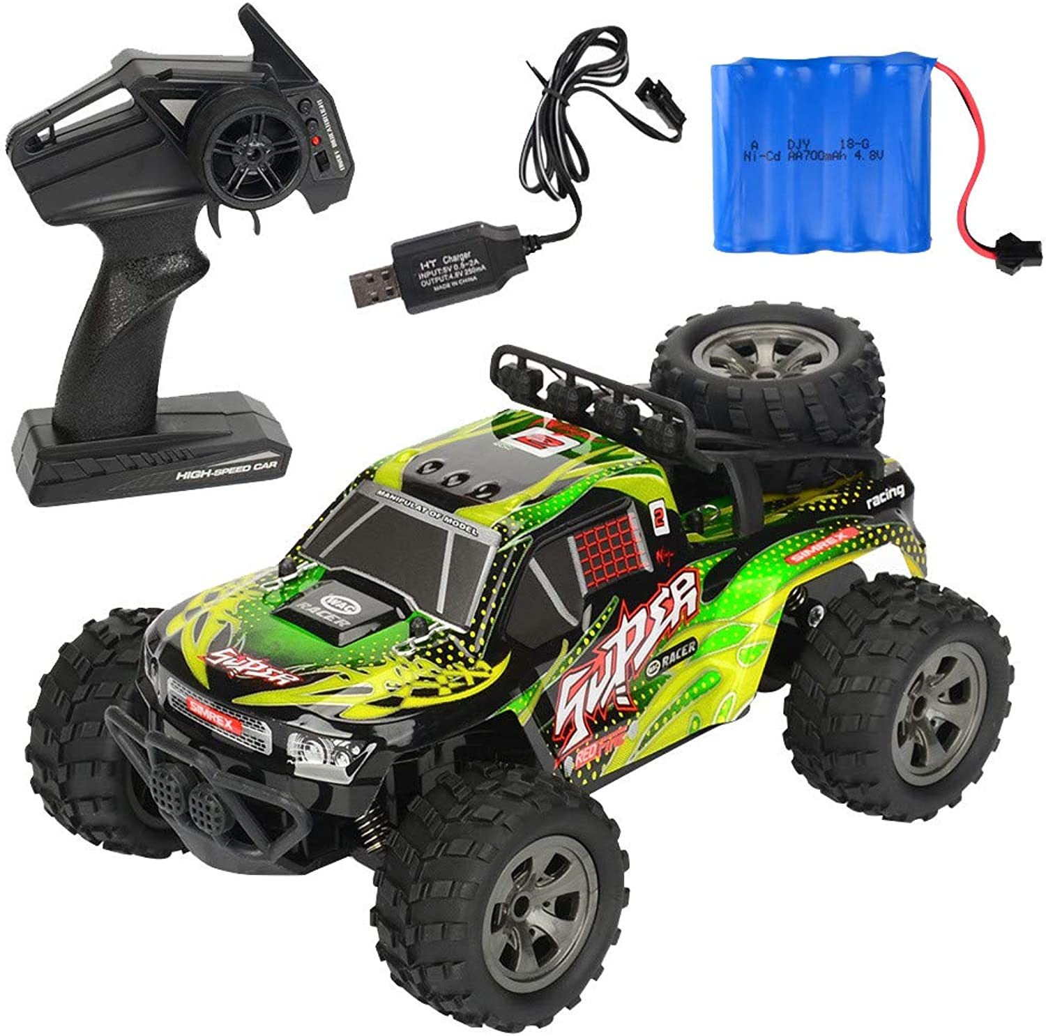 Cimaybeauty 1 18 2.4G Remote Control Off-Road Monster Truck High Speed RTR RC Car Toy