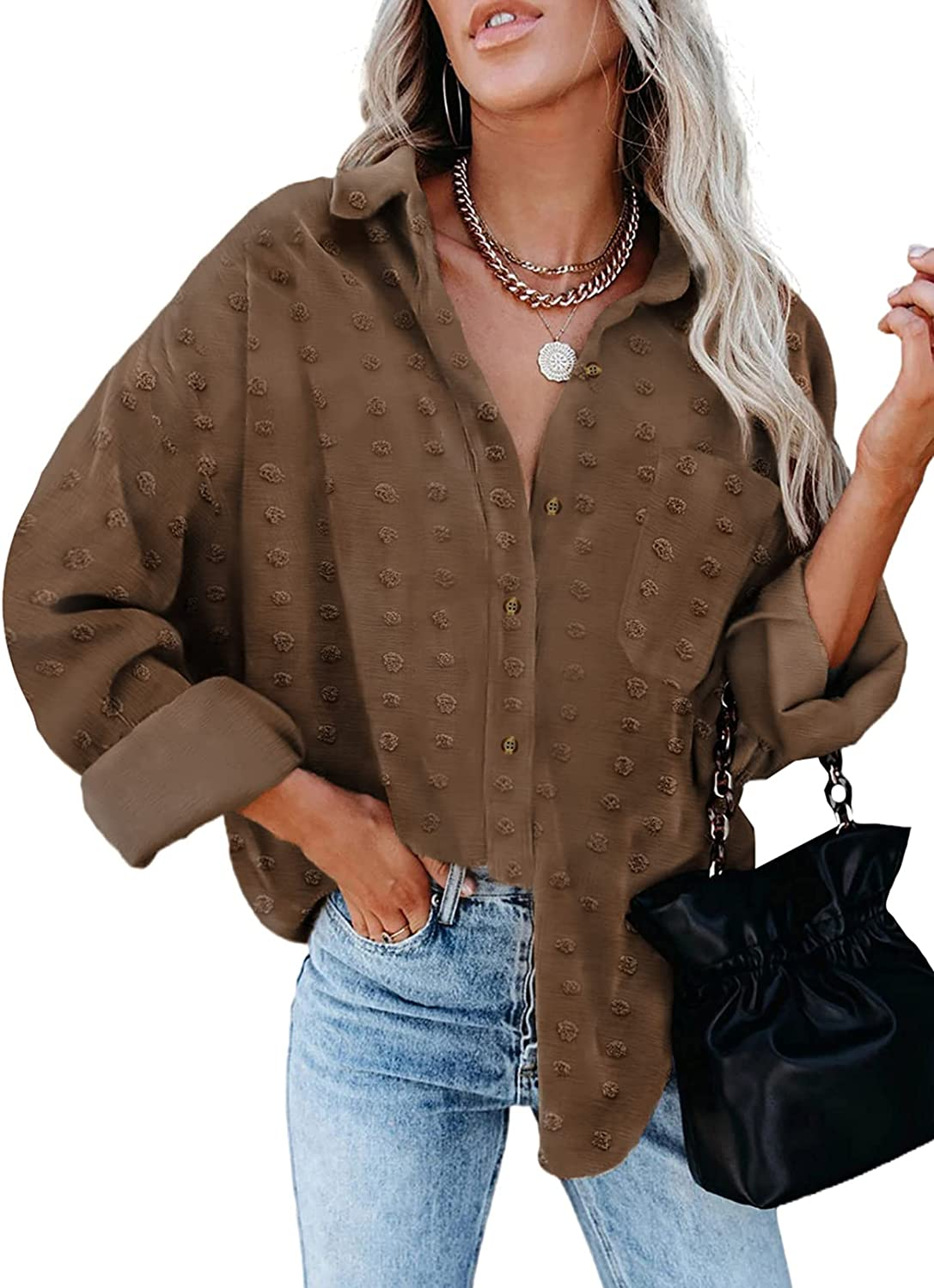 Astylish Womens Long Sleeve Shirts Jacquard Pom Pom Top Solid Color Button Down Blouse with Pockets
