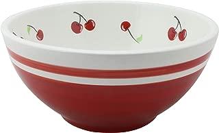Grace Teaware Hand Painted Glazed Ceramic Stoneware Serve Bowl 9.75-inch / 2.5-Quart (Red Cherries)
