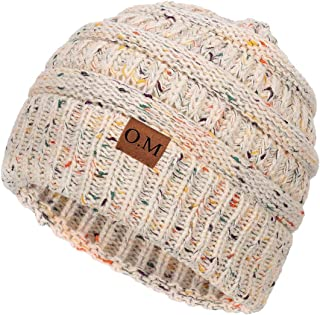 Women's Ponytail Messy Bun Cotton Beanie Winter Warm Stretch Cable Hat Thick Knit Cuff Skull Cap