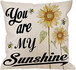 HGOD DESIGNS You are My Sunshine Pillow Case, Quote with Bees and Yellow Sunflowers Cotton Linen Cushion Cover Square Standard Home Decorative for Men/Women 18x18 inch White Black Yellow