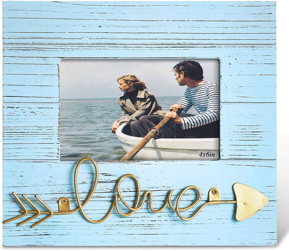 BOLUO 4x6 Beach Picture Frames Love Photo Frame Distressed Blue