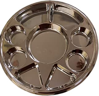 Disposable Plates 9 Compartment Stainless Steel Thali Plates Trays - 100 Pack For Indian Puja, Partys, Weddings