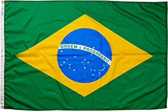 product image for Annin Flagmakers Model 190845 Brazil Flag Nylon SolarGuard NYL-Glo, 4x6 ft, 100% Made in USA to Official United Nations Design Specifications