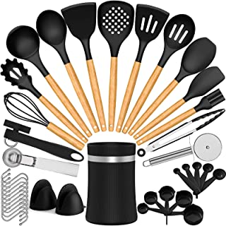Umite Chef Silicone Cooking Utensil Set, 29 pcs Silicone Cooking Kitchen Utensils Set with Wooden Handle, Non-stick Heat R...