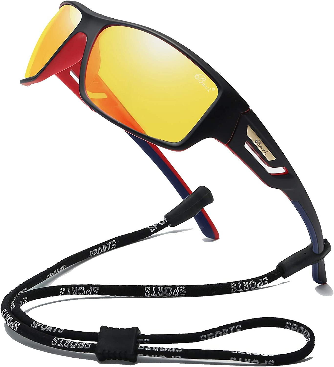 Bevi Polarized Sports Sunglasses TR90 Unbreakable Frame for Men Women Running Cycling 2518C