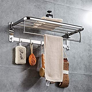LUKEEXIN Punch-Free Towel Rack Stainless Steel Folding Towel Rack Towel Bar Bathroom Hardware Accessories (Color :)
