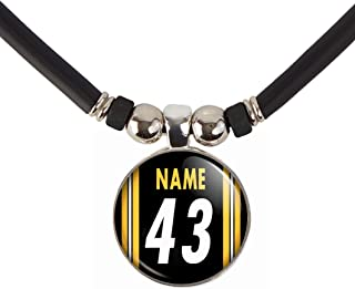 Custom Pittsburgh Football Jersey Necklace with Name and Number