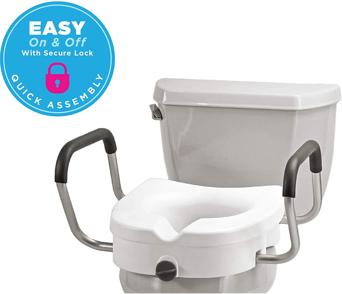 """NOVA Medical Products Elevated Raised Toilet Seat with Removable, Adjustable Padded Arms, 20"""" Width Between Arms, Locking, Easy On and Off, for Standard and Elongated Toilets"""