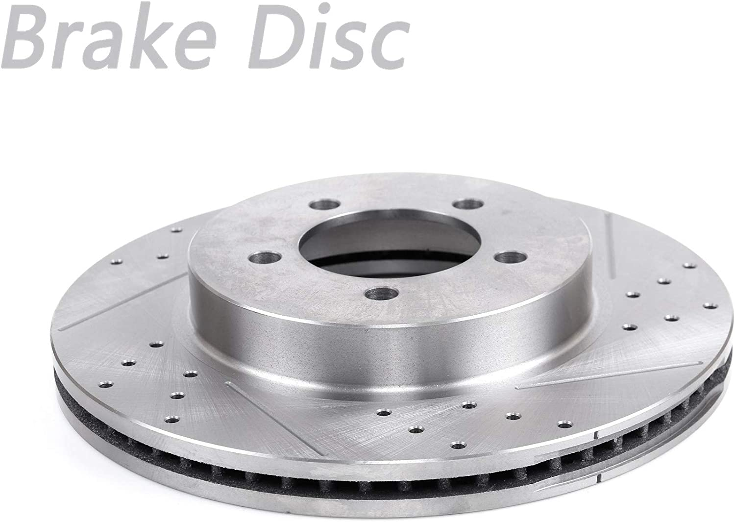 1pc Front Left Drilled Slotted Vented Brake Disc Rotor Arlington Bargain sale Mall