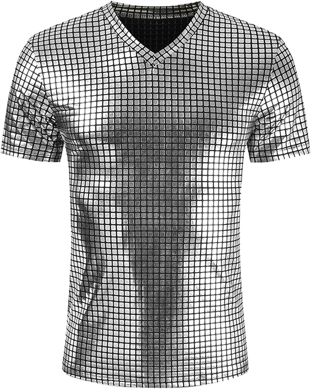 Men Shiny Metallic T Shirt,Hipsters Fashion Glossy Tee Tops,Short Sleeve Nightclub Shirt Tops