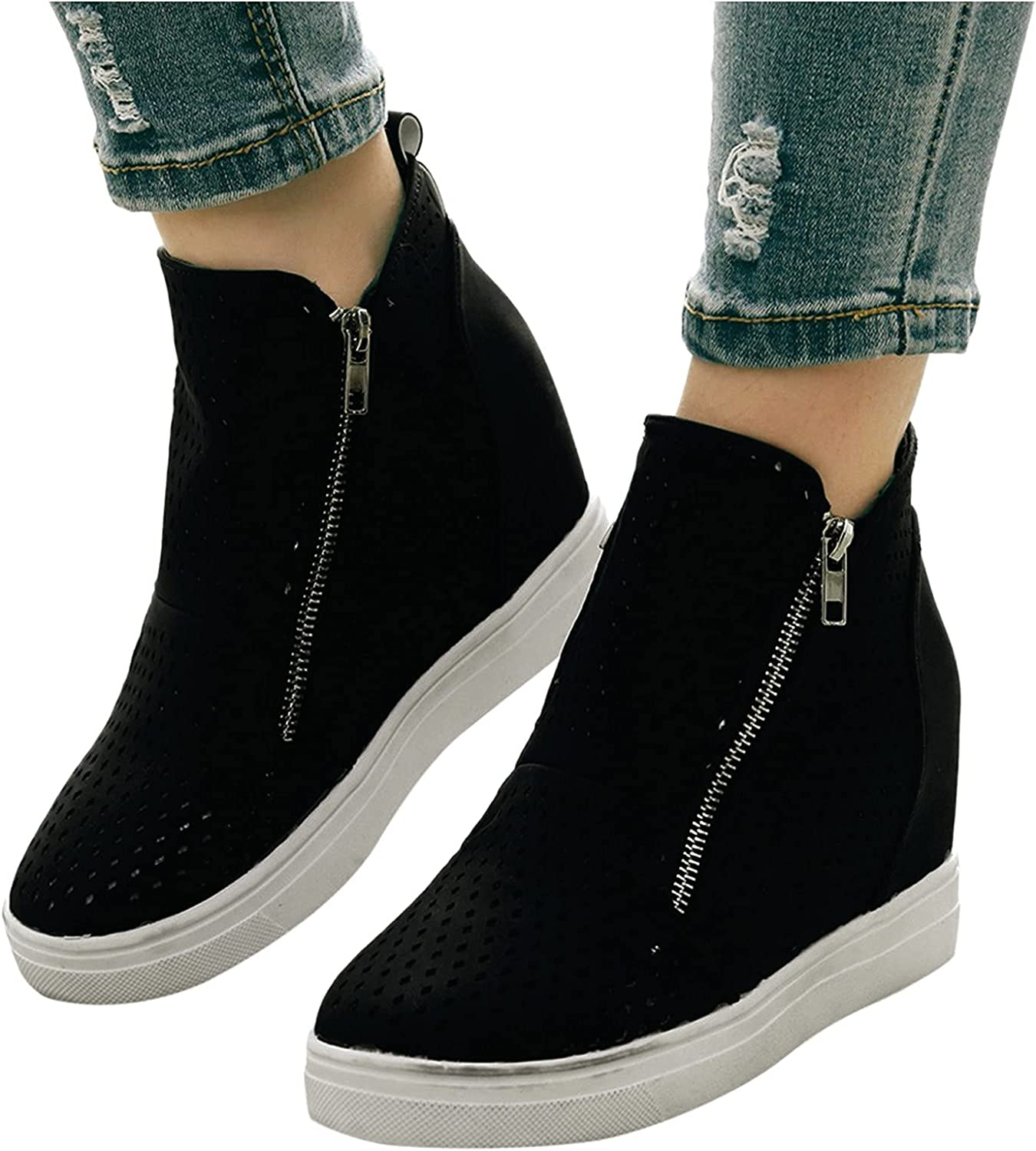 UOCUFY Boots for Women with Heel,Womens Slip On Wedge Sneakers Ankle Short Booties Non Slip Shoes Breathable Casual Boots