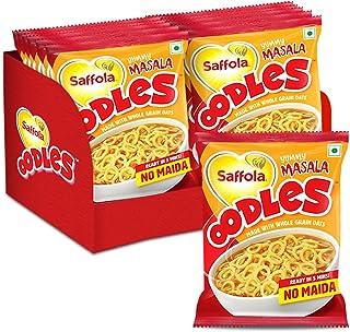 Saffola Oodles, Instant Noodles, Ring Shape, Yummy Masala Flavour, No Maida, Whole Grain Oats, 12 x 46g Pouch (12 Serves)