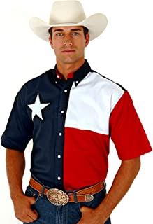 Roper Men's S/S Pieced Texas Flag Shirt