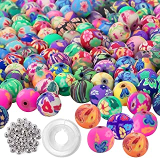 Quefe 300pcs Round Polymer Clay Beads Assorted Colorful Pattern Handmade Loose Beads with 50pcs Spacer Beads and Crystal String for Kids Jewelry Making (10mm)