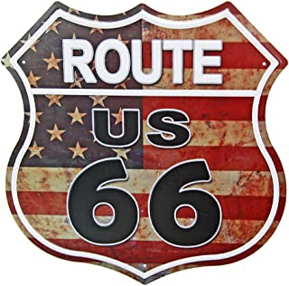 NEW DECO US Route 66 Signs Vintage Metal Road Signs for Garage, Man Cave, Bar, Home Wall Decoration (US Flag Road Street Sign)