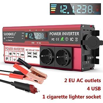 300 W ~ 600 W ERAYAK Convertisseur de courant 12 V 220 V avec port USB avec 2 prises AC et allume-cigare Convertisseur Onde sinuso/ïdale pour voitures 2000 W//1500 W//1000 W//600 W//300 W//150 W