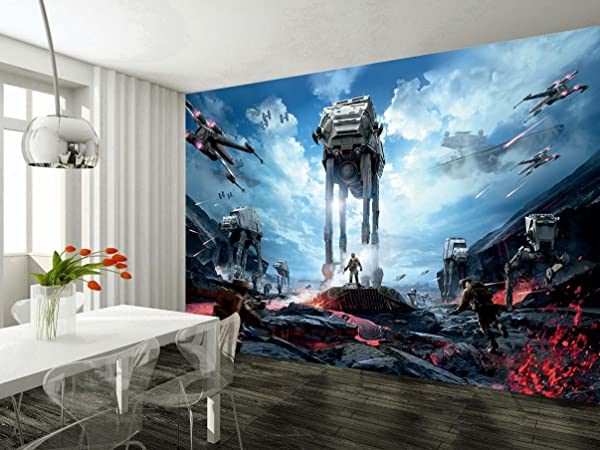Star Wars Battle Ships Wallpaper Woven Self Adhesive Wall Art Mural Decal M235 Non Woven 6 Stripes