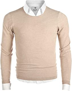 Men's Long Sleeve Crew Neck Pullover Knit Sweater