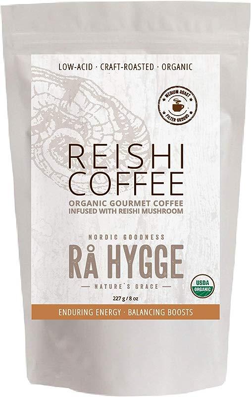 RaHygge USDA Organic Reishi Mushroom Coffee Ground Medium Roast Low Acid 8oz 20Servings 3 Varieties Available Powerful Immune Energy Boost Extracts From Wild Grown Fruiting Bodies