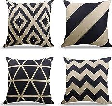 Zestaw 4 dekoracyjnych poszewek na poduszkę z geometrycznym wzorem, na sofę, do biura, na poduszkę z bawełny i lnu 40X40cm...