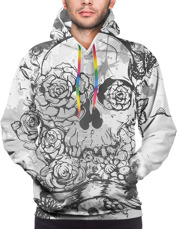 Hoodie For Mens Womens Teens White Skull Flower Double-Sided 3d Sweatshirt Hoodie