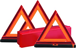 Deflecto Early Warning Road Safety Reflective Triangle Kit, Folding Design, Fluorescent Orange, Plastic, with Storage Box, 3 Pack (73-0711-00)