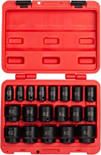 Sunex 2640, 1/2 Inch Drive Impact Socket Set, 19-Piece, SAE, 3/8 Inch – 1-1/2 Inch, Cr-Mo Alloy Steel, Radius Corner Design, Dual Size Markings, Heavy Duty Storage Case, Meets ANSI Standards