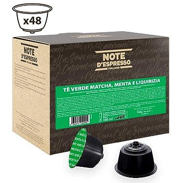 Note D'Espresso - Cápsulas de té verde matcha con menta y regaliz Exclusivamente Compatibles con cafeteras de cápsulas Nescafé* y Dolce Gusto* 16g (caja de 48 unidades)