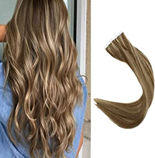 Full Shine 16 inch Dip Dye Tape in Hair Remy Human Hair Extensions Piano Color #10 Golden Brown and #16 Golden Blonde Pu Tape Hair Extensions 100 Gram Per Set