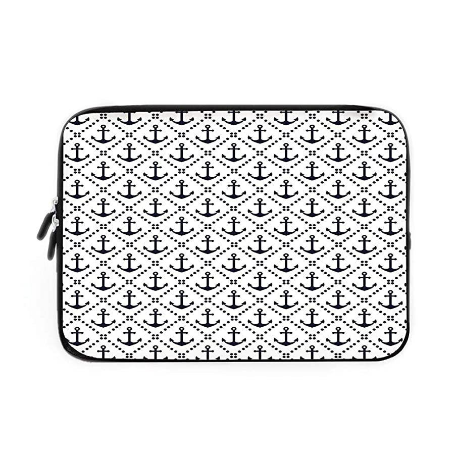 Geometric Laptop Sleeve Bag,Neoprene Sleeve Case/Dotted Frames Anchors Pattern Chevron Style Zigzags Nautical Theme Image Decorative/for Apple MacBook Air Samsung Google Acer HP DELL Lenovo A