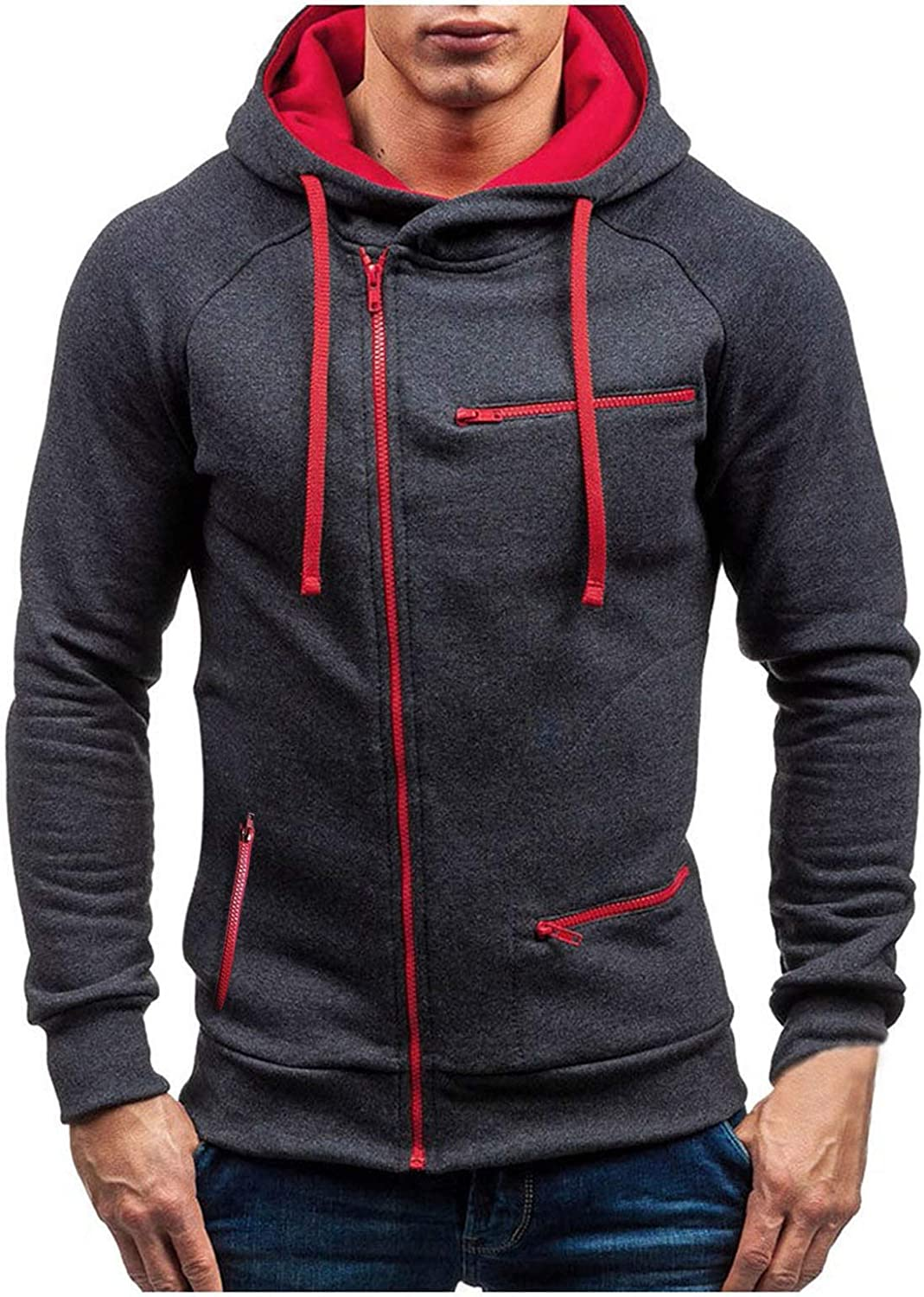 HONGJ Men's Zipper Hoodies, Fall Fashion Patchwork Drawstring Hooded Sweatshirts Workout Sports Casual Pullover Tops