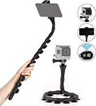 SH SHIHONG Flexible Selfie Stick,Waterproof Handheld Bendable Monopod Suction Cup Stand with Bluetooth Remote for Action Cameras, Small Camera, Cell Phones