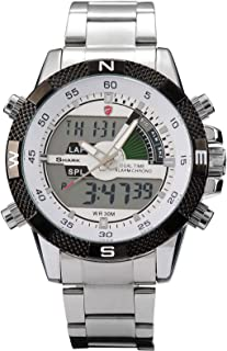 Shark Men's Sport Wrist Watch Dual Time LCD Alarm Chronograph White Dial