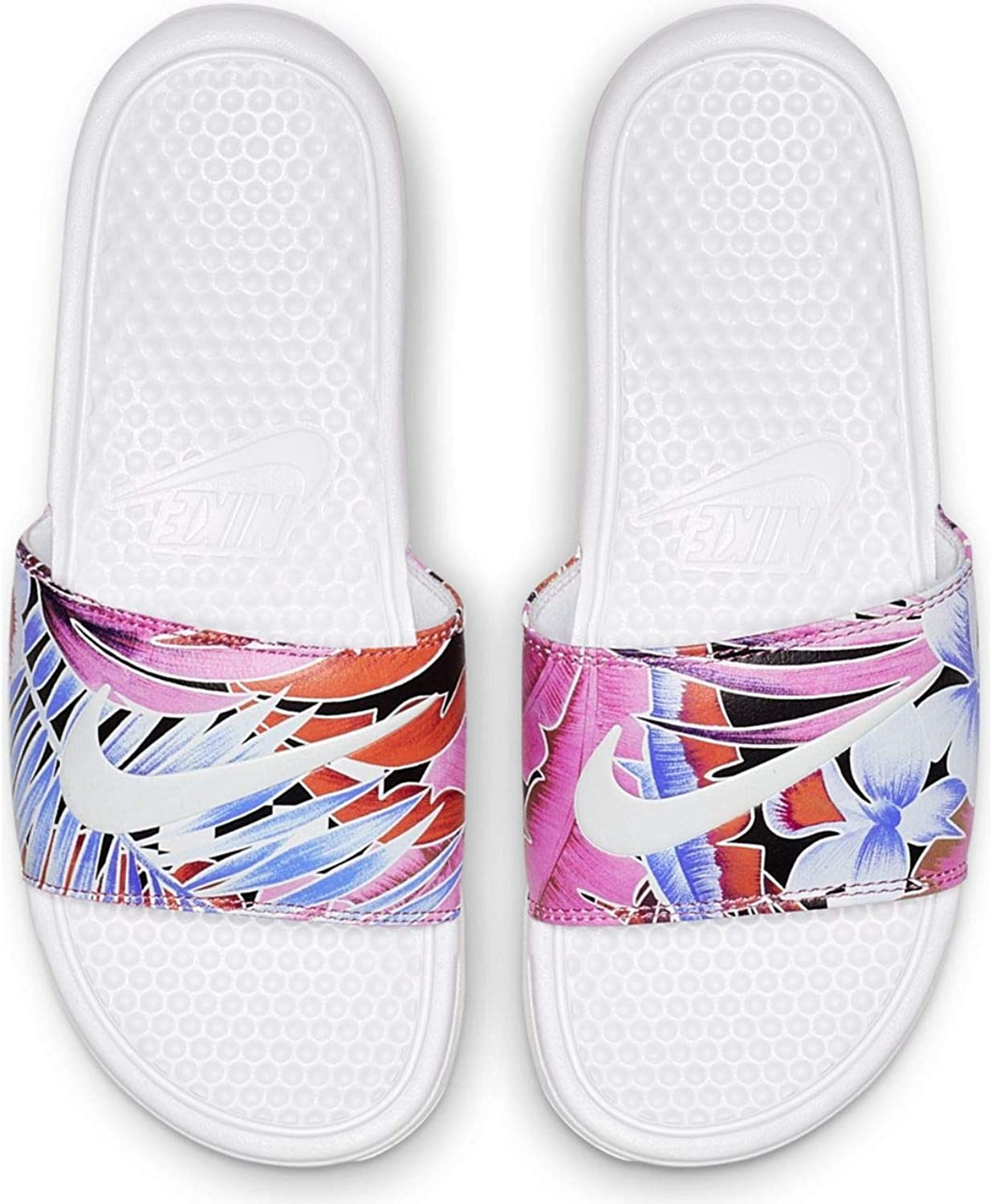 Nike Women's Benassi Just Do It. White Habablack-Ember Glow-Game Royal