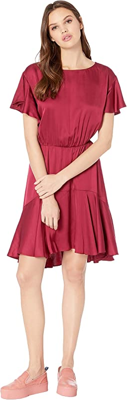 Satin Float Arm Draped Dress