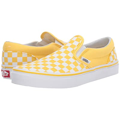 Vans Kids Classic Slip-On (Little Kid/Big Kid) ((Checkerboard) Aspen Gold/True White) Girls Shoes
